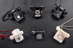 Raccolta degli strumenti d'annata del telefono Fotografie Stock