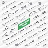Raccolta degli strumenti di giardinaggio Fotografia Stock
