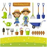 Raccolta degli strumenti di giardinaggio isolata - illustrazione di vettore Immagine Stock