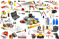 Raccolta degli strumenti necessari per la riparazione e la manutenzione di Fotografie Stock