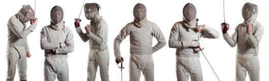 Raccolta degli swordsmans isolati su bianco fotografia stock libera da diritti