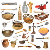 Raccolta degli utensili e degli oggetti differenti della cucina Immagini Stock