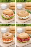 Raccolta dei bagel con formaggio cremoso, il pesce di color salmone ed il prosciutto per Fotografia Stock