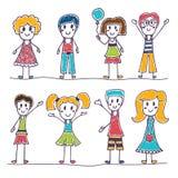 Raccolta dei bambini felici Bambini svegli disegnati a mano Fotografia Stock Libera da Diritti