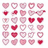 Raccolta dei biglietti di S. Valentino dell'illustrazione rossa delle icone del cuore royalty illustrazione gratis