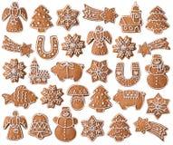 Raccolta dei biscotti del pan di zenzero di Natale Fotografie Stock