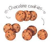 Raccolta dei biscotti deliziosi del cioccolato isolati sui precedenti beige Fotografia Stock Libera da Diritti