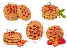 Raccolta dei biscotti su fondo bianco Fotografia Stock