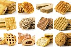 Raccolta dei biscotti su un bianco Fotografie Stock