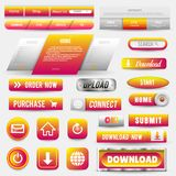 Raccolta dei bottoni di web, insieme di elementi Vector i modelli, insegne ed etichette, media, icone dei nastri per il sito Web  royalty illustrazione gratis