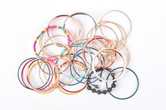 Raccolta dei braccialetti alla moda, vista superiore Immagine Stock Libera da Diritti
