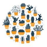 Raccolta dei cactus e dei succulenti disegnati a mano in vasi immagini stock