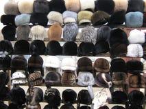 Raccolta dei cappelli di pelliccia da vendere Immagini Stock