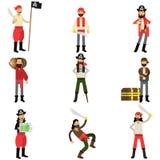 Raccolta dei caratteri piani del pirata del fumetto nelle situazioni differenti, in ladri e nei cacciatori di tesoro illustrazione vettoriale