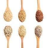 Raccolta dei cereali asciutti su un cucchiaio di legno, percorso di ritaglio Fotografie Stock Libere da Diritti