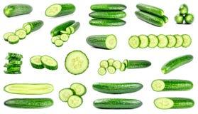 Raccolta dei cetrioli verdi freschi isolati su bianco Fotografia Stock Libera da Diritti