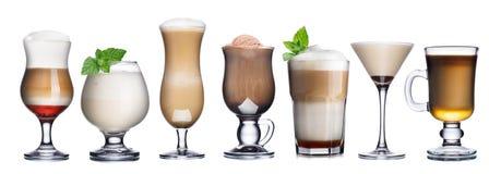 Raccolta dei cocktail del caffè isolata su bianco immagini stock libere da diritti