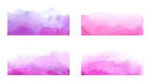 Raccolta dei colpi artistici della spazzola dell'acquerello disegnato a mano Fotografia Stock Libera da Diritti