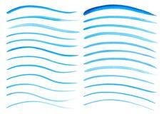 Raccolta dei colpi dipinti a mano della spazzola dell'acquerello Righe blu astratte priorità bassa Onde vive dell'acquerello Mode illustrazione di stock