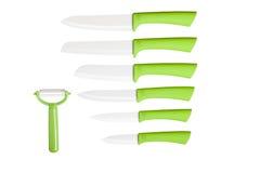 Raccolta dei coltelli di verde della cucina - immagine di riserva fotografia stock