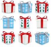 Raccolta dei contenitori di regalo di Natale dei regali Fotografia Stock