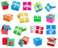 Raccolta dei contenitori di regalo isolata su fondo bianco Fotografie Stock Libere da Diritti