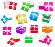 Raccolta dei contenitori di regalo isolata su fondo bianco Fotografie Stock