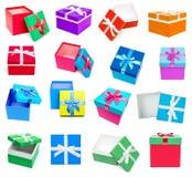 Raccolta dei contenitori di regalo isolata su fondo bianco Immagine Stock Libera da Diritti
