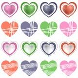 Raccolta dei cuori di giorno del biglietto di S. Valentino s retro Fotografia Stock Libera da Diritti