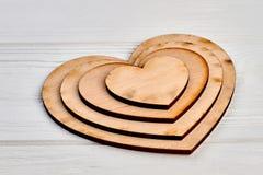 Raccolta dei cuori di legno in bianco Fotografie Stock Libere da Diritti