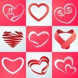 Raccolta dei cuori per la celebrazione di giorno di biglietti di S. Valentino Immagine Stock
