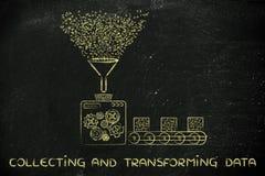 Raccolta dei dati, fabbrica che elabora codice binario Immagine Stock