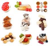 Raccolta dei dessert e dei dolci Immagini Stock