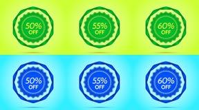 Raccolta dei distintivi verdi e blu di vendita illustrazione vettoriale