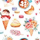 Raccolta dei dolci dell'acquerello royalty illustrazione gratis