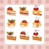 Raccolta dei dolci su fondo bianco Immagine Stock