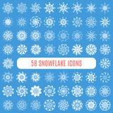 Raccolta dei fiocchi di neve alla moda del elegante isolati Fotografia Stock