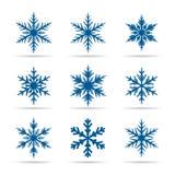 Raccolta dei fiocchi di neve blu Fotografia Stock Libera da Diritti