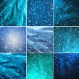 Raccolta dei fiocchi e delle stelle della neve Immagine Stock