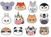 Raccolta dei fronti animali svegli, grande icona di vettore messa per progettazione del bambino illustrazione di stock