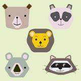 Raccolta dei fronti animali svegli, insieme di vettore dell'icona per progettazione del bambino royalty illustrazione gratis