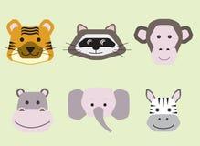 Raccolta dei fronti animali svegli, insieme di vettore dell'icona per progettazione del bambino illustrazione vettoriale