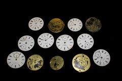 Raccolta dei fronti e dei pezzi dell'orologio da tasca Fotografia Stock