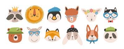 Raccolta dei fronti o delle teste animali divertenti svegli che indossano i vetri, i cappelli, le fasce e le corone Insieme di va illustrazione di stock
