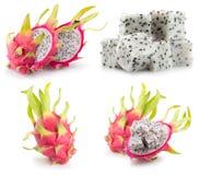 Raccolta dei frutti del drago isolata su un fondo bianco Fotografia Stock