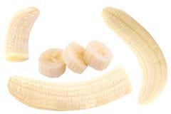 Raccolta dei frutti della banana isolata su bianco Fotografia Stock
