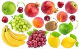 Raccolta dei frutti differenti e delle bacche isolati su fondo bianco Fotografie Stock Libere da Diritti