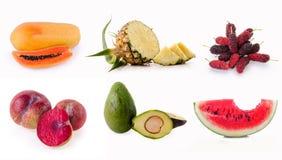 Raccolta dei frutti isolata su fondo bianco Immagini Stock
