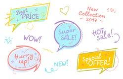 Raccolta dei fumetti d'avanguardia di vendita con testo scritto a mano a Illustrazione di Stock