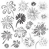 Raccolta dei fuochi d'artificio disegnati a mano Illustrazione monocromatica di vettore illustrazione vettoriale